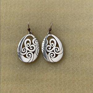 Silver Tone Drop Earrings.